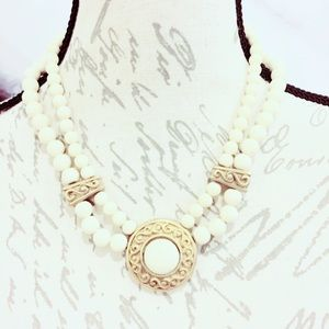 Ivory and Gold Tone Double Strand Necklace